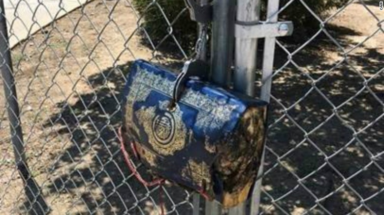 A burnt Quran cut up and filled with bacon found outside Mosque in California